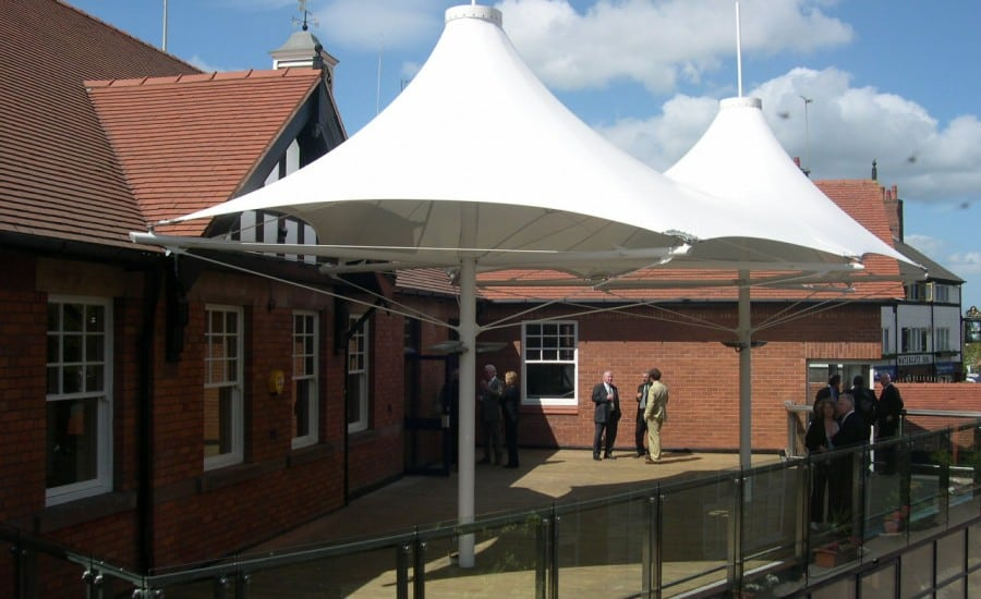 external PVC Shade canopy at Chester Racecourse