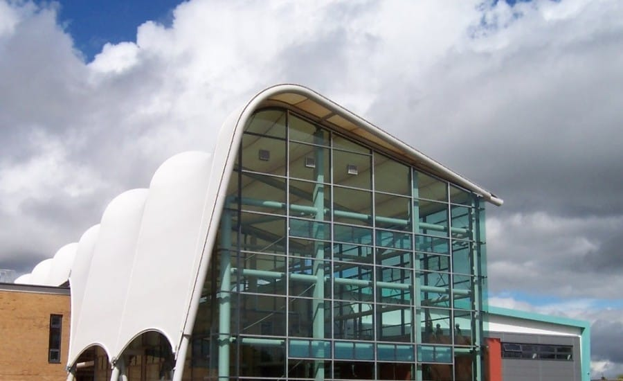 PTFE Glass fabric roof over a University building