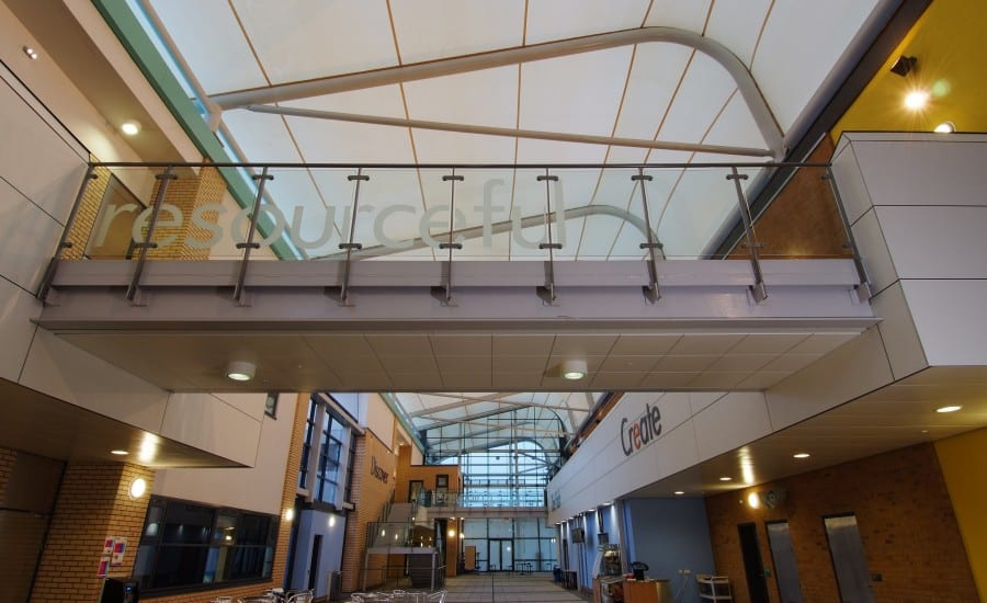PTFE Glass roof over a University building