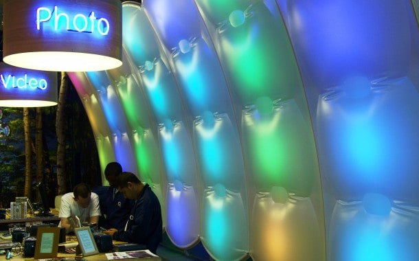 ETFE PVC reactive LED wall display in shop
