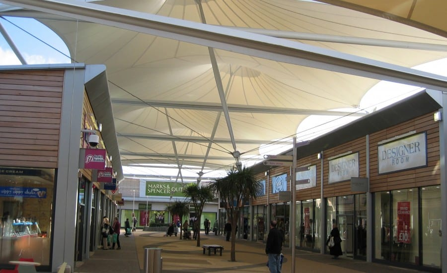 PTFE Glass covered walkway for shopping centre