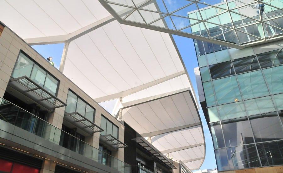 Tenara fabric walkway canopy over shopping centre