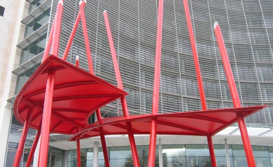 Entrance canopy with red fabric with unique design