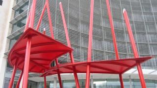 PVC Polyester: Entrance canopy walkway funky original unique chopsticks