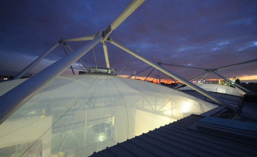 ETFE Foil cushion on top of exhibition centre