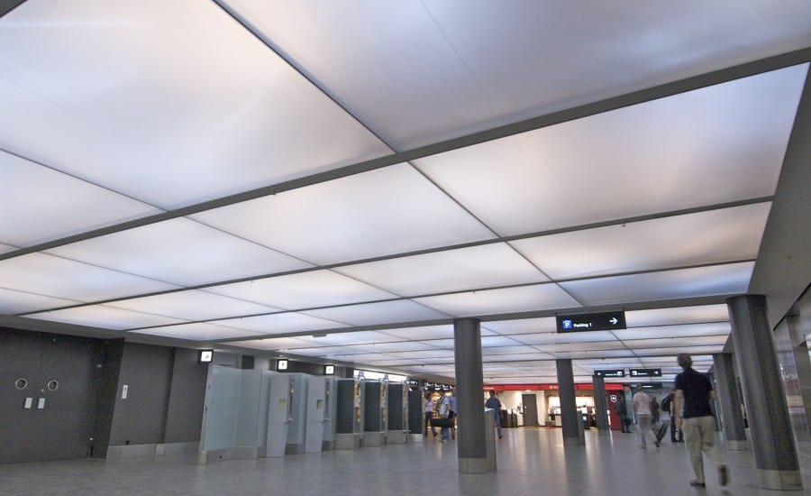Modular fabric ceiling system in airport