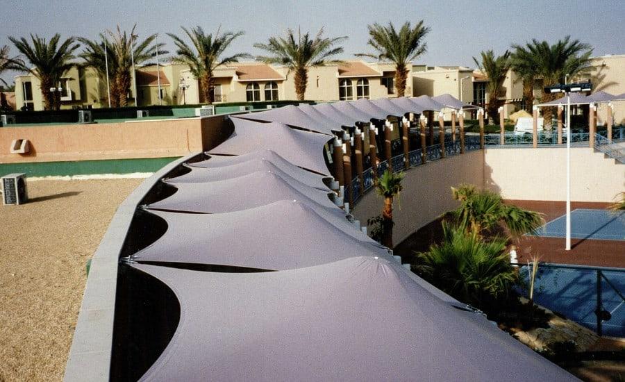 Fabric canopies for shade at holiday resort