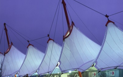 Tensile PVC structure at night