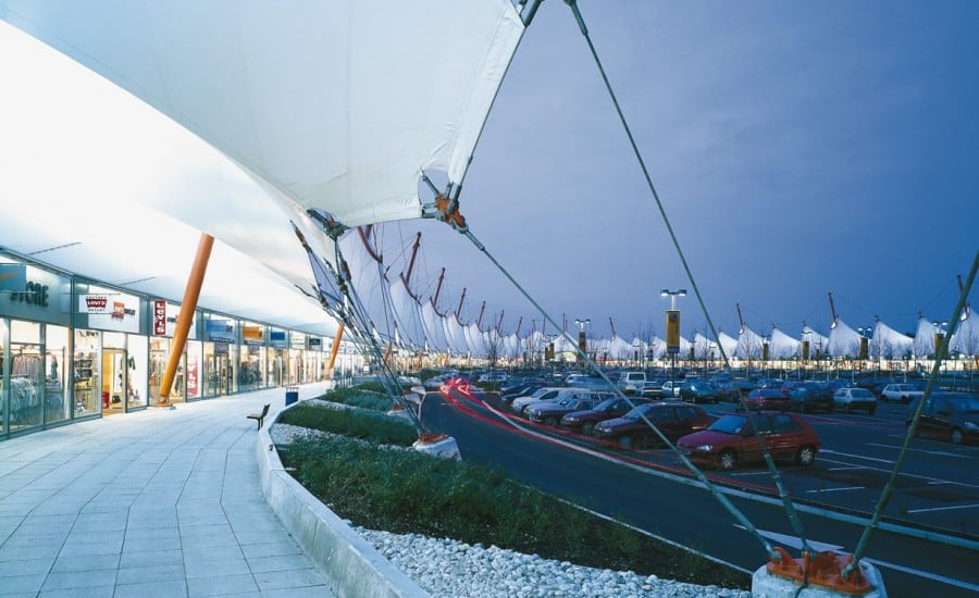 Fabric roof over retail park