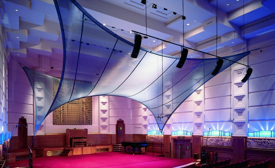 Acoustic fabric feature in concert hall