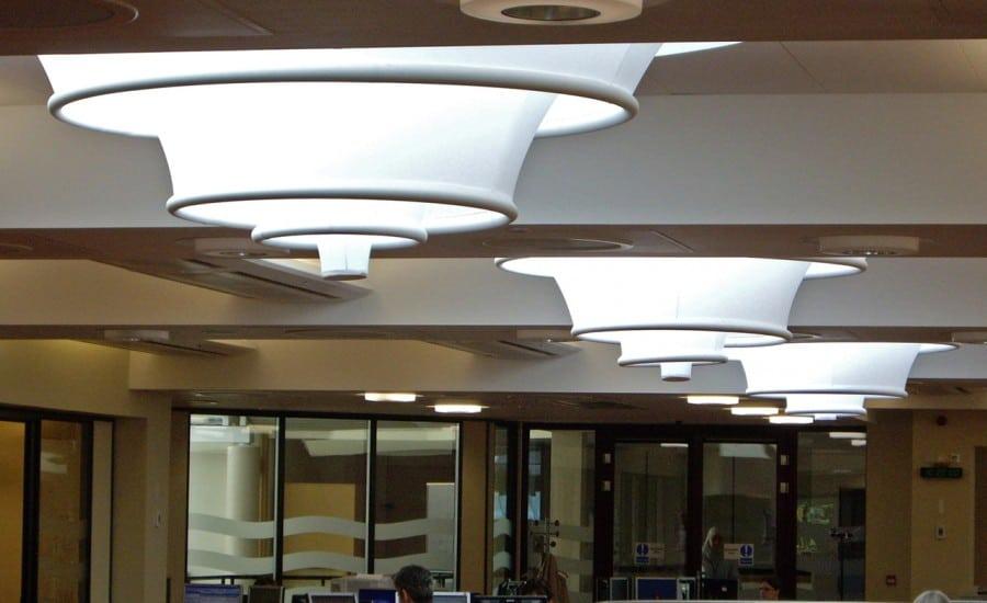 Interior light diffusing fabric structures