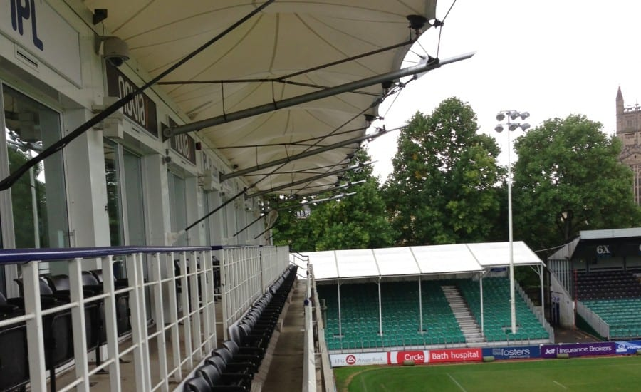 Conic shaped fabric canopies at sports ground