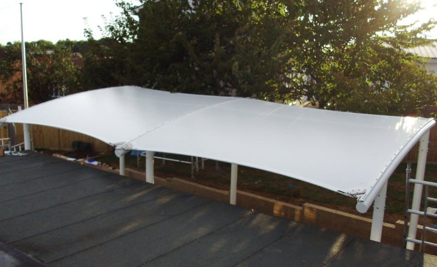 Fabric canopy for weather protection for school