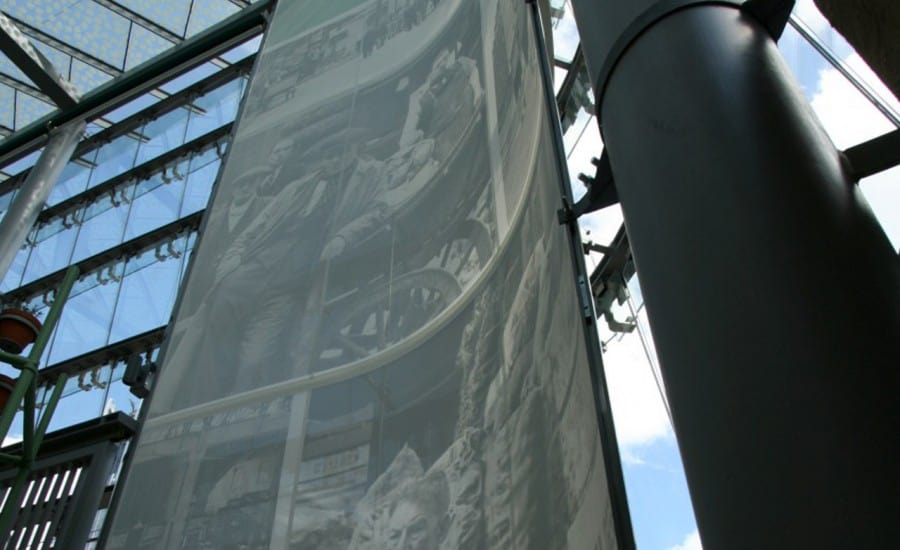 Interior fabric screens in market place