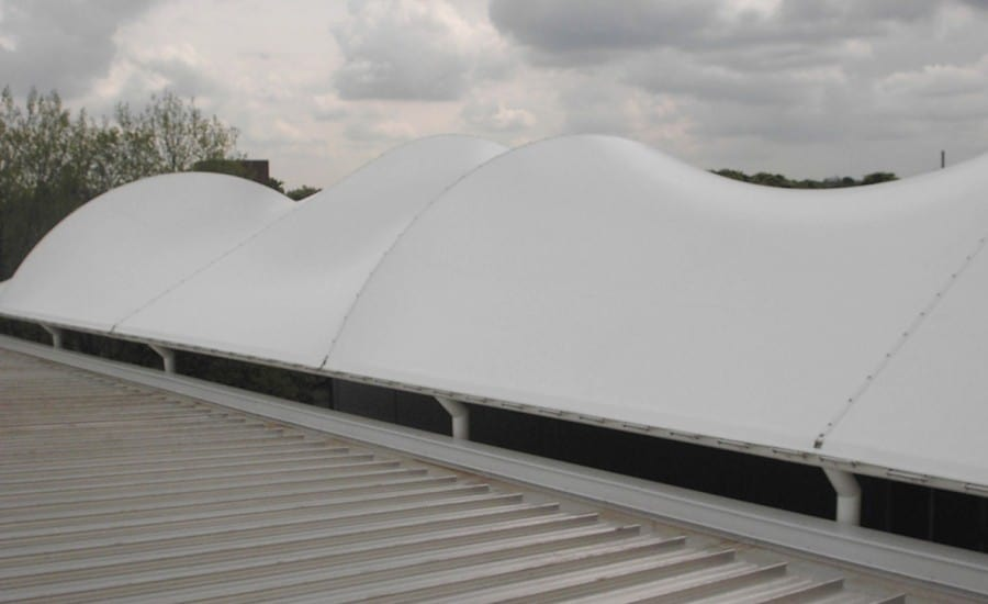 Distinctive asymmetrical PVC roof