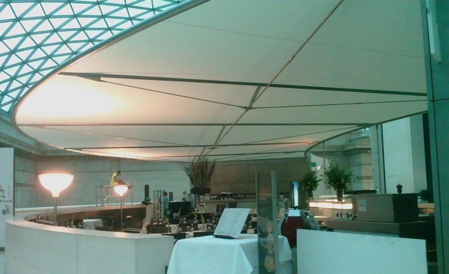Tensile fabric ceiling in restaurant