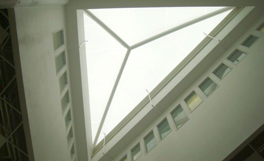 Triangular ETFE fabric roof light