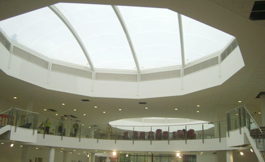 Domed tensile fabric roof