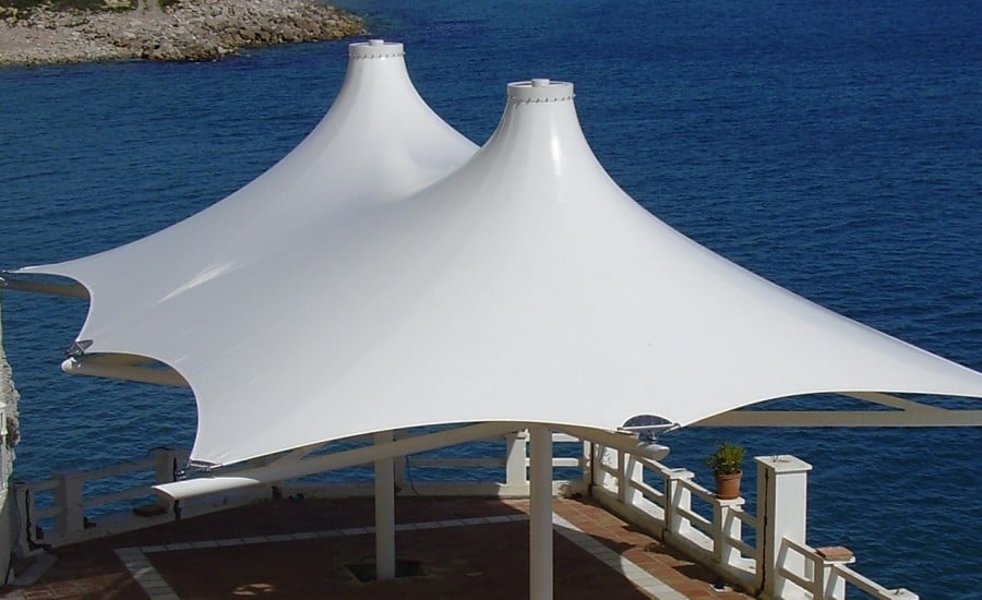 Twin coned fabric canopy