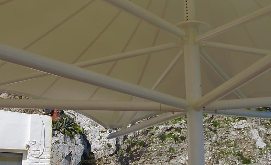 Fabric canopy over terrace