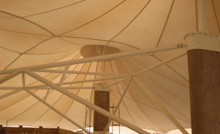 Conic PVC structure in the desert