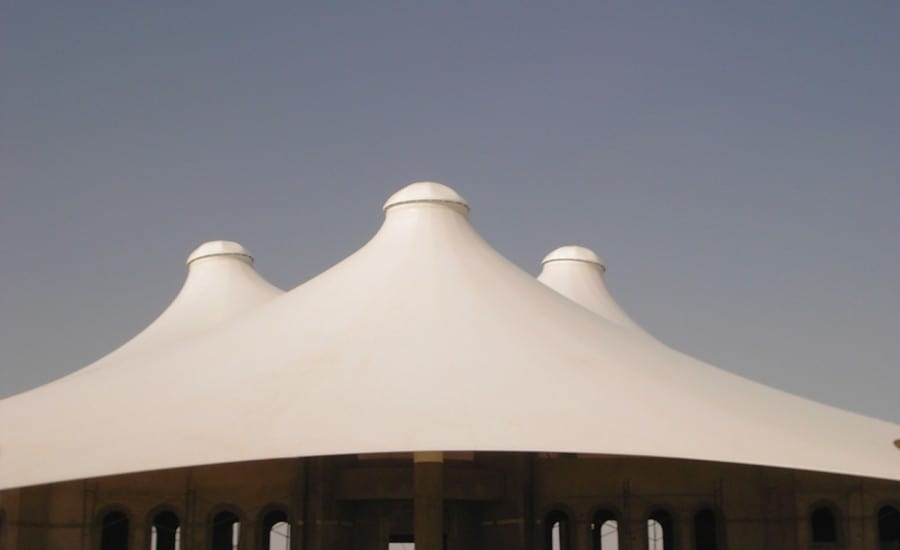 Double conic PTFE glass cloth canopy