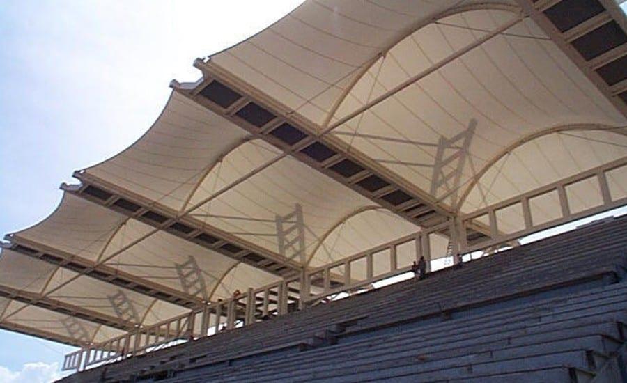 PVC shade providing canopy at sports venue