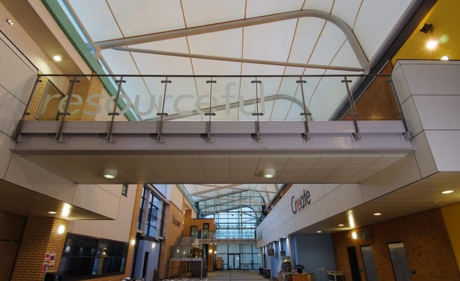 Feature fabric roof covering school atrium