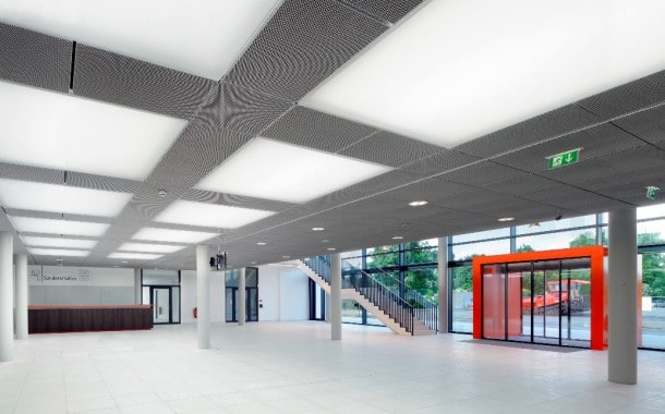 Fabric ceiling panels in office building