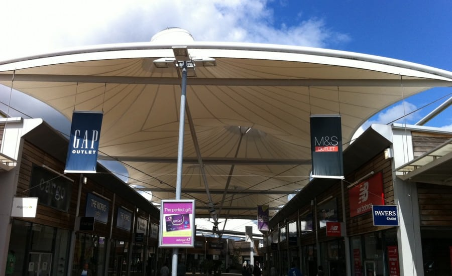 Shopping centre fabric roof