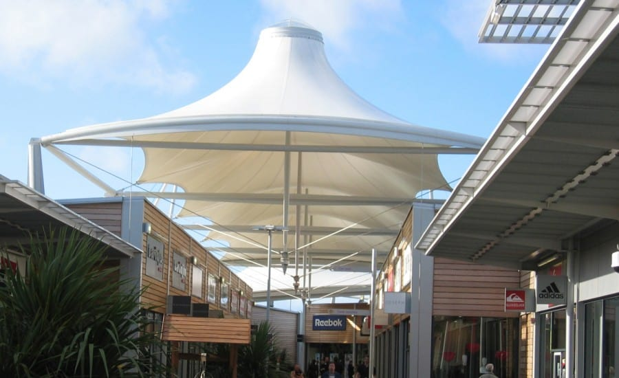 PVC covering over shopping mall