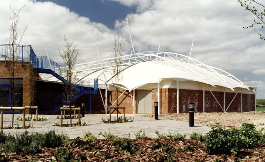 PVC fabric roof structure covering lesuire centre