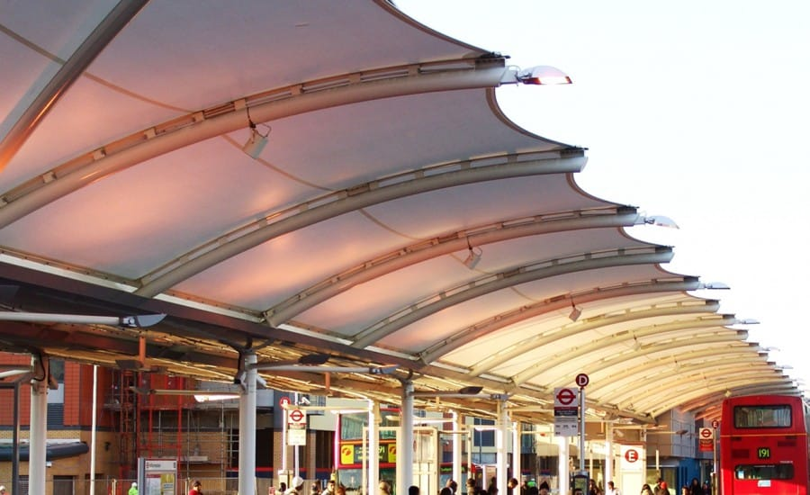 Tensile fabric walkway canopy at bus station