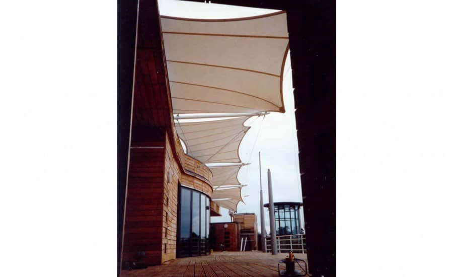 Fabric shades for boat house
