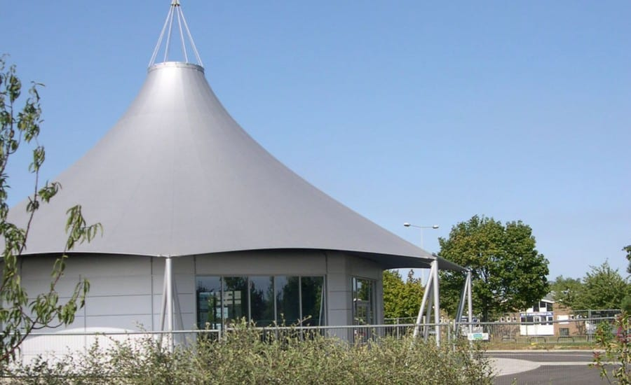 Silver conical fabric canopy