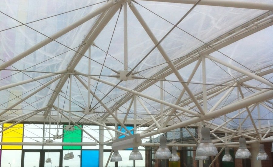 Clear tensile fabric roof