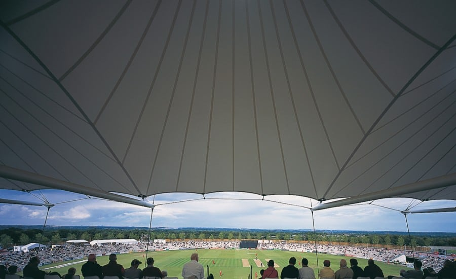 PVC canopy covering seating at cricket venue