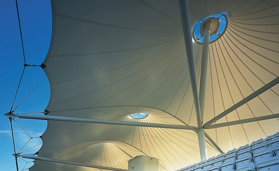 Sculptural tensile fabric canopies