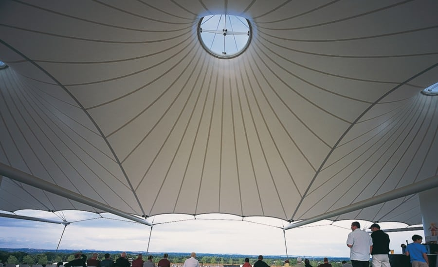 Large PVC canopy over seating area