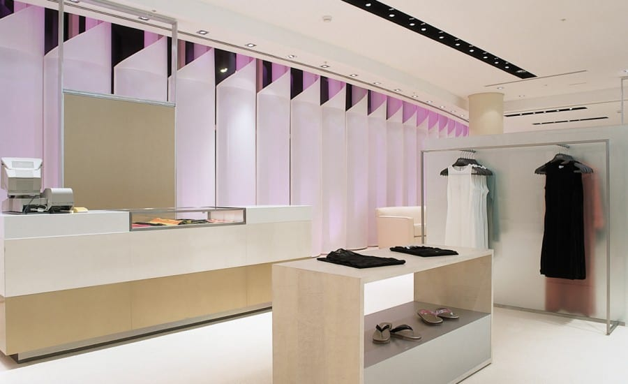 Fabric screens with dynamic coloured lighting