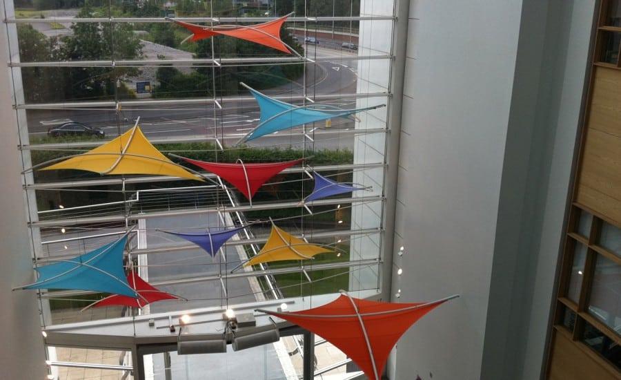 Colourful fabric kite shades
