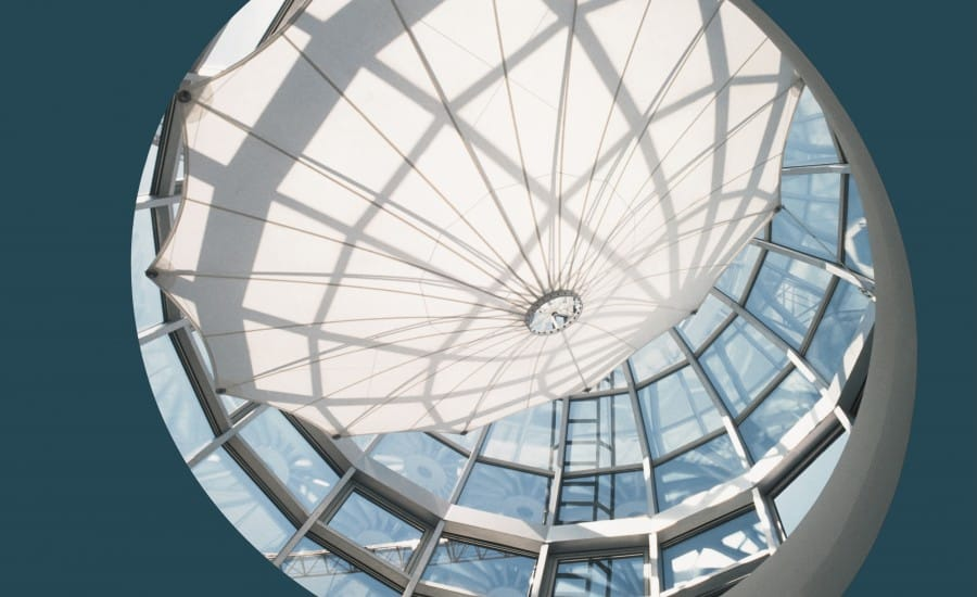 Fabric structure protects space from solar glare