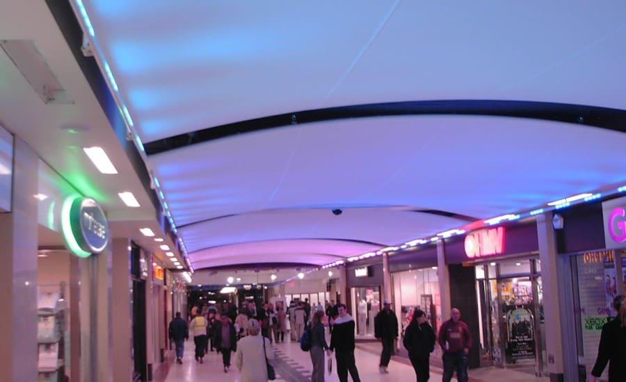 LED lit tensile fabric barrel vault canopies