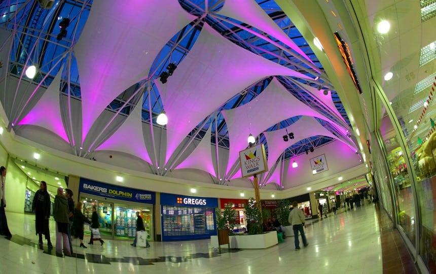 PVC glass sails inside shopping centre