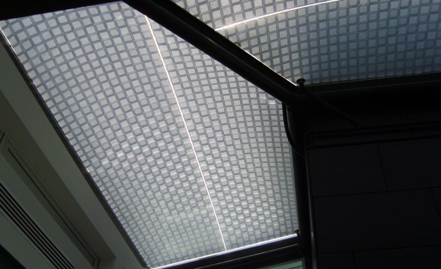 Patterned fabric skylights for university building