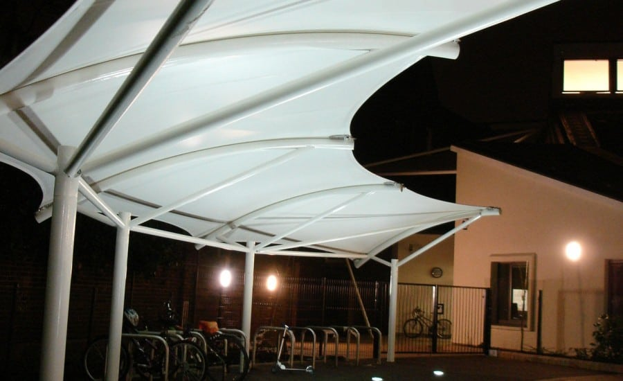 Fabric canopies covering bike park