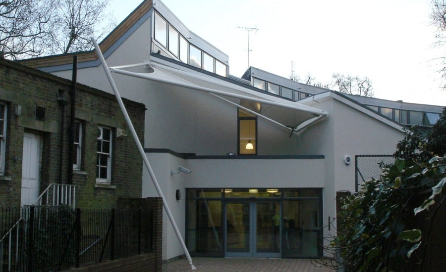 Fabric entrance canopy to school