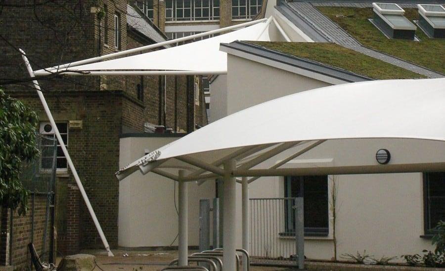 Tensile fabric canopies in school grounds