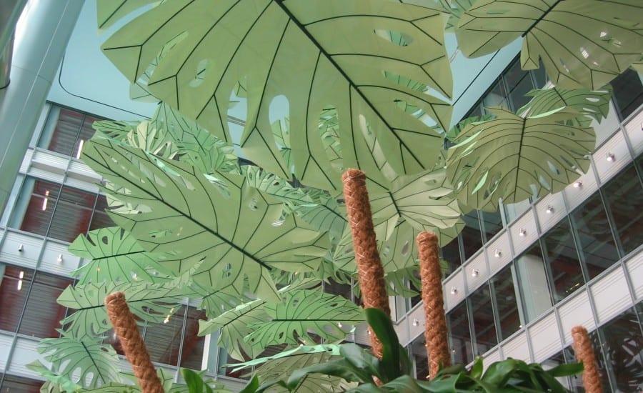 Decorative fabric leaves in office atrium
