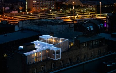 Clear fabric rooftop building
